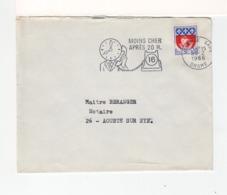 Sur Env. Flamme Moins Cher Après 20 H. CAD Valence Gare Drôme 1966 Sur Timbre Armoiries Paris. (2556x) - Postmark Collection (Covers)