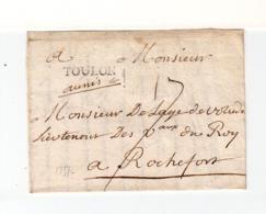 Sur Partie De Lettre Pour Rochefort Marque Linéaire Toulon. Taxe Manuscrite 15. (2558x) - Postmark Collection (Covers)