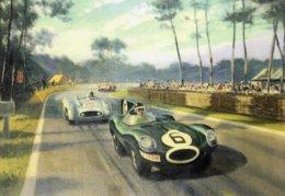 24 Heures Du Mans 1955  -  Jaguar D Type - Mercedes 300SLR  -  Automotive Art Postcard - Carte Postale Modern - Le Mans