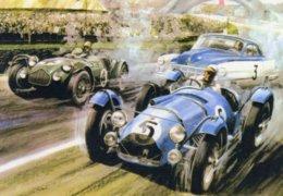 24 Heures Du Mans 1951  -  Talbot Lago-Allard-Cadillac  -  Automotive Art Postcard - Carte Postale Modern - Le Mans
