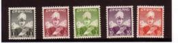 GROENLAND 1938/46 COURANTS YVERT N°1/5 NEUF MLH* - Greenland