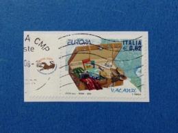 2004 ITALIA FRANCOBOLLO USATO STAMP USED EUROPA CEPT LE VACANZE 0,62 CON APPENDICE - 6. 1946-.. Repubblica