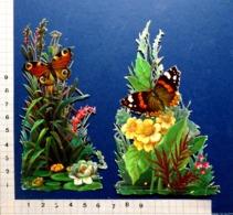 2  DECOUPIS GAUFRES..... H  13 Cm.........PAPILLONS SUR PLANTES ORNEMENTALES - Animals