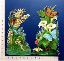 2  DECOUPIS GAUFRES..... H  13 Cm.........PAPILLONS BLEUS SUR PLANTES ORNEMENTALES...ARUMS - Animals