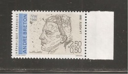 France, 2682a, 2682, Variété : Bleu Foncé ABSENT, Neuf **, TTB, André Breton, Poète - Varieties: 1990-99 Mint/hinged