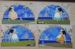 "Illustrateur: G. MESCHINI - RARE - ""Ars Nova"" - Série Complete: 4 Cartes Postales - Dipinta A Mano / Peint à La Main - Illustrateurs & Photographes"