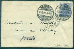 FRANCE Alsace Lorraine PERFORE F W & C (DE WENDEL ) Ind: E Rare Ob HAYINGEN 18.12.1901 - Gezähnt (Perforiert/Gezähnt)