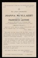 Wulpen, Lampernisse, 1914, Joanna Muyllaert, Lacoere - Devotieprenten