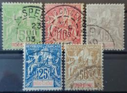INDOCHINE 1900 - Canceled - YT 17, 18, 19, 20, 21 - 5c 10c 15c 25c 50c - Indochine (1889-1945)