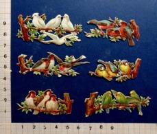 6 PETITS CHROMOS  DECOUPIS  ..... GAUFRES...BRILLANTS....DES OISEAUX SUR UNE BRANCHE - Animals