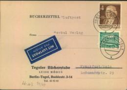 """1953, Bücherzettel Per Luftpost Ab """"BERLIN - TEGEL !"""" Mit Seltener 9 Pfg. Frankatur - Berlin (West)"""