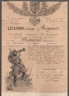 Guerre 1914 1918 Citation à L Ordre Du Regiment 15e Corps D Armée 29e Division 57e Brigade 112e D Infanterie Toulon 1915 - Documents Historiques