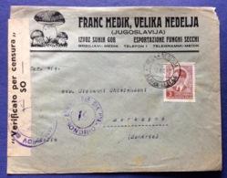 FUNGHI SECCHI ESPORTAZIONE  JUGOSLAVIA  ADVERTISING ENVELOPE   FROM NEDELJA   TO MORBEGNO SONDRIO 16/8/40 - Sellos
