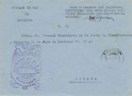 34022. Carta S.N. Franquicia Juzgado MARANGES (Gerona) 1959. Fechador PUIGCERDA - 1931-Hoy: 2ª República - ... Juan Carlos I