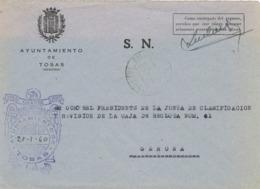 34024. Carta S.N. Franquicia Ayuntamiento TOSAS (Gerona) 1960. Fechador San Cristobal De Tosas - 1931-Hoy: 2ª República - ... Juan Carlos I