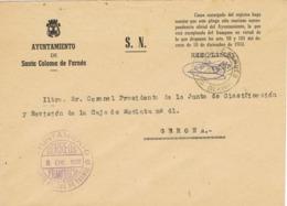 34025. Carta S.N. Franquicia Ayuntamiento SANTA COLOMA De FARNES (Gerona) 1960. Fechador - 1931-Hoy: 2ª República - ... Juan Carlos I