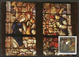 Germany Maximum Card Maxicard Christmas 1986 Adoration Of The Infant Jesus Choir Window St Michael Church Werdohl - Christmas