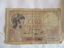 France: 5 Francs 1939 - 1871-1952 Antiguos Francos Circulantes En El XX Siglo