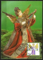 Germany Maximum Card Maxicard Christmas 1990 Angel With Harp Koelner Weihnachtsmarkt Cancellation - Christmas