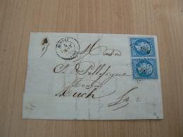 CP 107 / NAPOLEON N° 14 SUR LETTRE/ PAIRE SUR DEVANT DE LETTRE - 1853-1860 Napoleon III