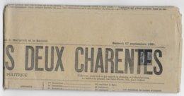 """1881 - 1c SAGE SEUL Sur JOURNAL POLITIQUE COMPLET """"LES TABLETTES DES DEUX CHARENTES""""  à ROCHEFORT - Storia Postale"""