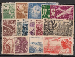 Guadeloupe - 1942-47 - Poste Aérienne PA N°Yv. 1 à 15 - Complet - 15 Valeurs - Neuf Luxe ** / MNH / Postfrisch - Guadeloupe (1884-1947)