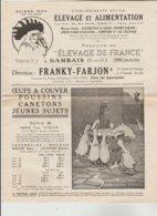 """DEPLIANT PUBLICITAIRE TARIF 4 PAGES + 2 - Elevage Et Alimentation Animale """"ELEVAGE DE FRANCE"""" GAMBAIS (Seine Et Oise) - Pubblicitari"""