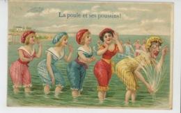 """FEMMES - FRAU - LADY - Jolie Carte Fantaisie Femmes Baigneuses """"LA POULE ET SES POUSSINS ! """" Postée à OOSTENDE - Frauen"""