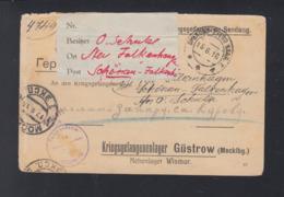 Russland Kriegsgefangenensendung 1916 Nach Lager Güstrow - Briefe U. Dokumente