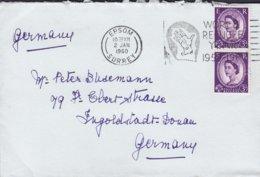 Great Britain Slogan 'World Refugee Year 1959-1960' EPSOM Surrey 1960 Cover Brief INGOLSTADT 2x 3d. QEII. - 1952-.... (Elizabeth II)