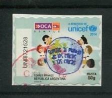 UNICEF - ESTAMPILLA AUTOADHESIVA USADA, OCA CORREO PRIVADO ARGENTINA 2014. PRIVATE COURIERS AUTOADHESIF STAMP USED LILHU - Argentina