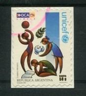 UNICEF - ESTAMPILLA AUTOADHESIVA USADA, OCA CORREO PRIVADO ARGENTINA 2004. PRIVATE COURIERS AUTOADHESIF STAMP USED LILHU - Altri