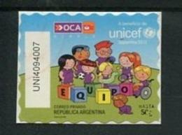 UNICEF - ESTAMPILLA AUTOADHESIVA USADA, OCA CORREO PRIVADO ARGENTINA 2013. PRIVATE COURIERS AUTOADHESIF STAMP USED LILHU - Argentina