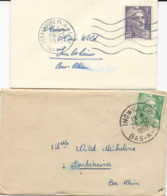 LOT DE 10 ENVELOPPES FORMAT CARTE DE VISITE - MIGNONNETTES - AVEC TIMBRES SEULS SUR LETTRE - 1921-1960: Période Moderne