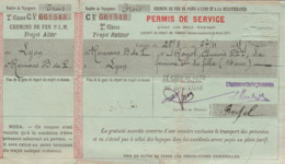 : PARIS à LYON à La MEDITERRANEE - Permis De Service LYON - ROMANS - BOURG De PEAGE - 1918 - 2é Classe C - Aller Retour - Europa
