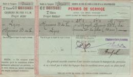 : PARIS à LYON à La MEDITERRANEE - Permis De Service LYON - ROMANS - BOURG De PEAGE - 1918 - 2é Classe C - Aller Retour - Europe