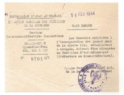 DIRECTION GENERALE DES CHANTIERS DE LA JEUNESSE - Chatel 111assGuyon - Billet D'information - Chantier De Jeunesse - WW2 - 1939-45