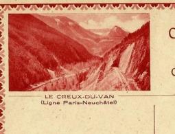 Carte Illustrée Neuve N° 123 - 013  LE CREUX - DU - VAN  (Ligne Paris- Neuchâtel) Chemins De Fer(Zumstein 2009) - Entiers Postaux