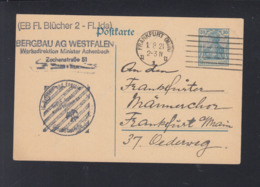 Dt. Reich GSK 1921 Bergbau AG Westfalen Frankfurt - Storia Postale