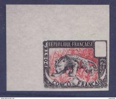 Congo Essai Panthere Non Dentel� Noir Et Rouge - French Congo (1891-1960)