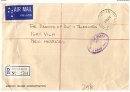 (ED 16) Norfolk Island Registered Cover Posted To New Hebrides (Vanuatu) - 1978 - Isola Norfolk