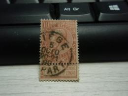 Timbre  Belgique 10 Belgie Ne Pas Livrer Le Dimanche Léopold II LIEGE - 1893-1907 Coat Of Arms