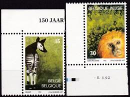 1992, Belgien, 2538/39,  MNH **,  150 Jahre Zoologischer Garten, Antwerpen. - Belgio