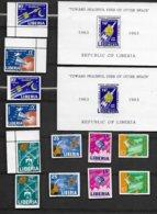 LIBERIA -ESPACE-SPARCIALE-12 SUPERBES TIMBRES NEUFS * * 6 DENTELES ET 6 NON DENTELES +2 BLOCS N°27-1 NON DENTELE-1963/65 - Space