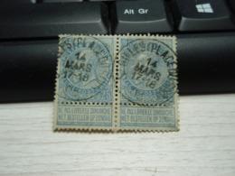 2 Timbres  Belgique 25 Belgie Ne Pas Livrer Le Dimanche Léopold II - 1893-1907 Armoiries