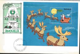 J) 1981 ANGUILLA, CHRISTMAS, THE NIGHT BEFORE CHRISTMAS, SANTA WITH REINDEER, SOUVENIR SHEET, FDC - Anguilla (1968-...)