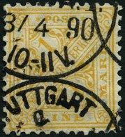 WÜRTTEMBERG 207 O, 1881, 1 M. Dkl`orangegelb, Eckzahnbug Sonst Pracht, Gepr. Klinkhammer (voll Signiert), Mi. 220.- - Wuerttemberg