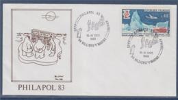 = Philapol 83 Enveloppe Villiers Sur Marne 15-16.10.1983timbre 1574 Expéditions Polaires Françaises - Events & Commemorations