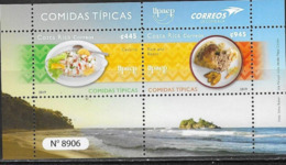 COSTA RICA, 2019, MNH, UPAEP, COSTA RICAN DISHES, CEVICHE, SEAFOOD, BEANS, RICE, SHEETLET - Food