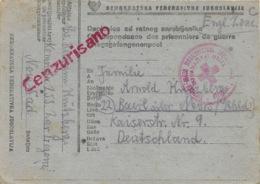 DOPISNICA OD RATMOG ZAROBLJENIKA   26 2 1947   Vers L'Allemagne Zone Anglaise - 1945-1992 Socialist Federal Republic Of Yugoslavia
